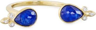 Jude Frances 18K Open Double-Teardrop Lapis Doublet Ring w/ Diamonds, Size 6.5