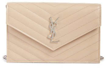 Women's Saint Laurent Quilted Calfskin Leather Wallet On A Chain - Beige
