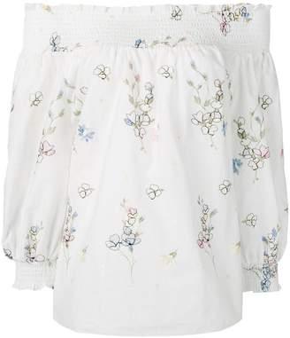 Blugirl floral embroidered bardot shirt