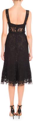 Victoria Beckham Plunging V-Neck Sheer-Waist Lace Dress