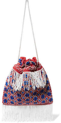 STAUD - Lance Beaded Canvas Pouch - Red