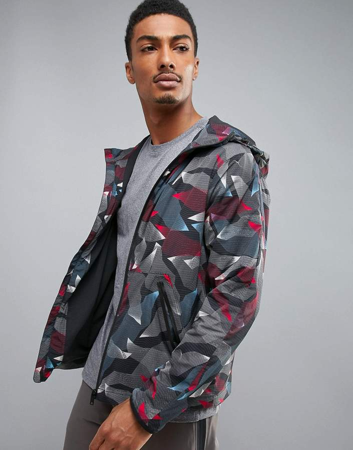 Perry Ellis 360 Running Jacket Linear Camo Print in Heritage Blue