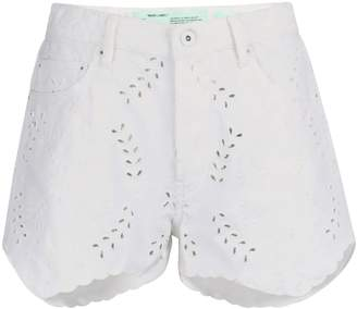 Off-White Off White Embroidered denim shorts