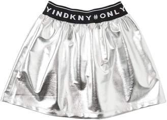 DKNY Logo Metallic Techno Skirt