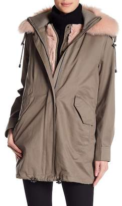 Derek Lam 10 Crosby Genuine Dyed Fox Fur Trim Faux Fur Liner Vest Parka