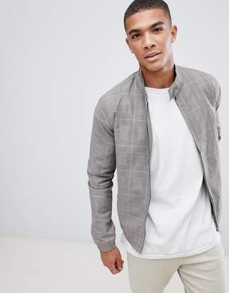 New Look harrington jacket in gray check