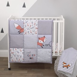 NoJo Little Love By Little Love by Lil Fox - Grey, Orange, White 3 Piece Nursery Mini Crib Bedding Set with Comforter, 2 Fitted Mini Crib Sheets