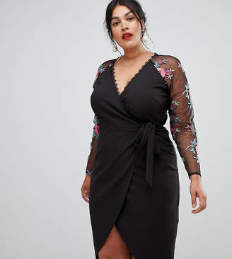 Little Mistress Plus wrapover pencil dress with embroidered sleeve detail