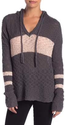 Sweet Romeo Stripe Open Knit Hoodie