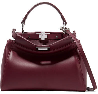 Fendi - Peekaboo Mini Leather Shoulder Bag - Burgundy