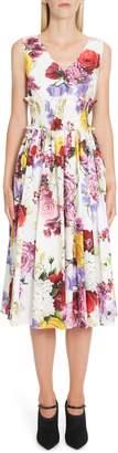 Dolce & Gabbana Floral Print Smock Waist Poplin Dress