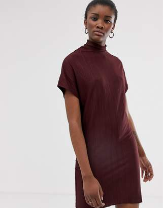 NATIVE YOUTH high neck plisse shift dress