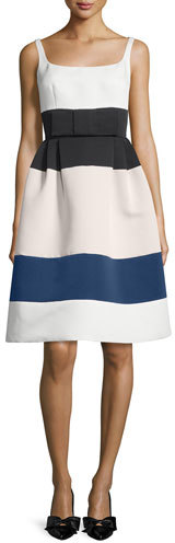 Kate Spade New York Sleeveless Structured Colorblock Dress, Cream/Multicolor