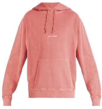 Saint Laurent Logo Print Washed Hooded Sweatshirt - Mens - Pink