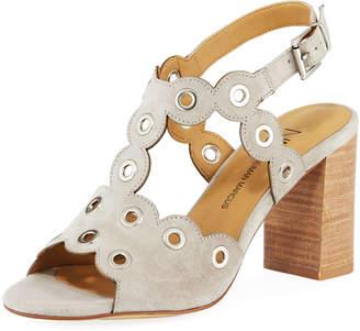 Neiman Marcus Brice Suede Grommet Sandal