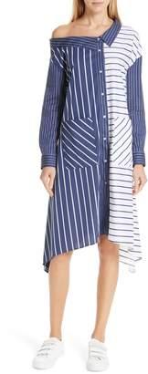 HUGO Efioni One-Shoulder Asymmetrical Shirtdress