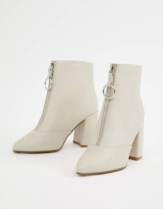 New Look zip front heeled boot in off white