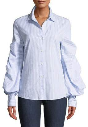 Jonathan Simkhai Striped Button-Down Top with Puff Sleeves