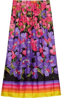 Gucci Degradé flowers silk twill skirt