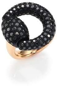 Gucci Black Diamond& 18K Pink Gold Horsebit Ring