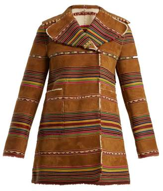 Valentino Reversible Double Breasted Striped Shearling Coat - Womens - Beige Multi