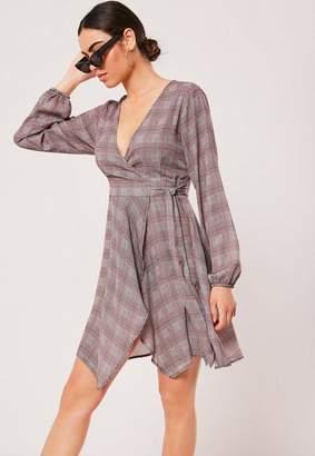 Missguided Gray Plaid Wrap Front Tea Dress