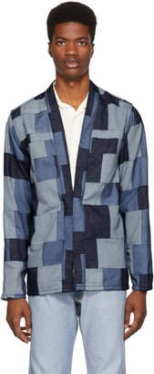 Naked & Famous Denim Denim Blue Denim Patchwork Kimono Jacket
