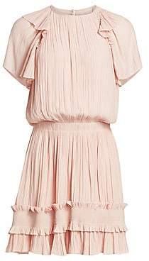 Halston Women's Short-Sleeve Pleated Georgette Dress