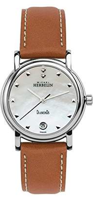 Mother of Pearl Michel Herbelin Metropole Women's Quartz Watch with Dial Analogue Display and Brown Leather Strap 12432/89GO