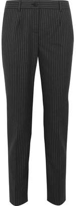Dolce & Gabbana Pinstriped Wool Slim-leg Pants - Gray