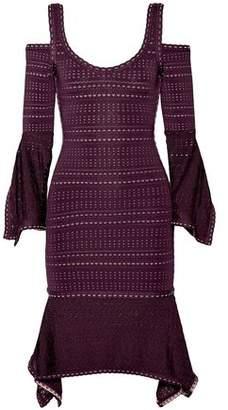 Herve Leger Kamryn Cold-Shoulder Bandage And Pointelle-Knit Dress