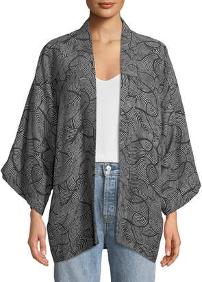 Elizabeth and James Drew Open-Front Swirl-Print Kimono