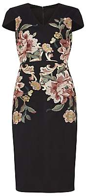 Phase Eight Nara Floral Embroidered Dress, Navy