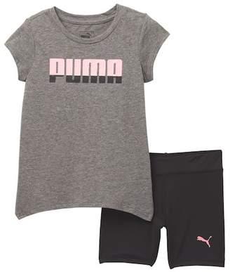 Puma Tee & Biker Shorts (Toddler Girls)