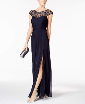 XSCAPE Embellished Faux-Wrap Gown $209 thestylecure.com
