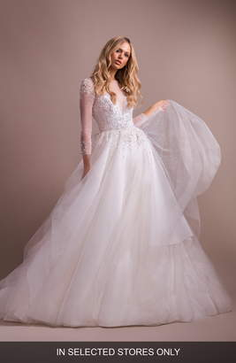 Paige Hayley Effie Long Sleeve Open Back Wedding Dress