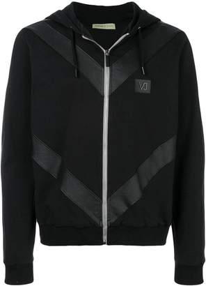 Versace logo patch zip hoodie