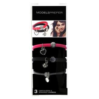Models Prefer Hair Elastic and Bracelet Combo in Assorted Designs 3 pack