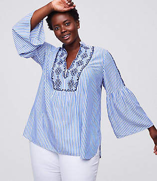 LOFT Plus Mosaic Stripe Bell Sleeve Blouse