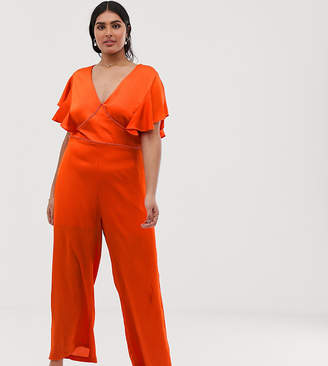 288be3667991 Lovedrobe v neck jumpsuit with wide leg and lace insert detail in orange