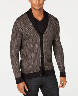 INC International Concepts I.N.C. Men's Colorblocked Metallic Cardigan with Skull Shaped Buttons, Created for Macy's