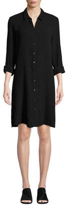 Eileen Fisher Button-Front Long-Sleeve Cotton Gauze Shirtdress