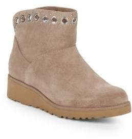 UGG Grommet Trim Suede & Shearling Ankle Booties