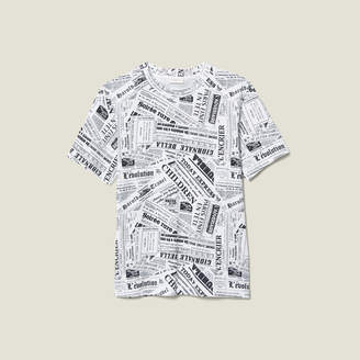 Sandro Newspaper Print T-Shirt