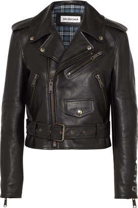 Balenciaga Cropped Printed Leather Biker Jacket - Black
