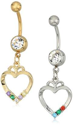 Body Candy Women's Toned Steel and Steel Clear Color Accent BFF Heart Dangle Belly Body Piercing Ring Set of 2