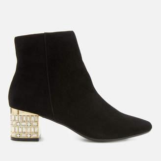 Dune Women's Onaa Suede Jewel Heeled Ankle Boots - Black