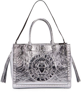 Balmain Crinkled Metallic Top Handle Bag