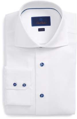 David Donahue Trim Fit Diamond Weave Dress Shirt