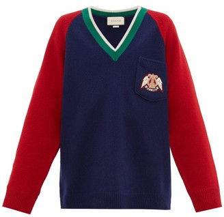 Gucci Crest Patch Wool Sweater - Mens - Red Navy